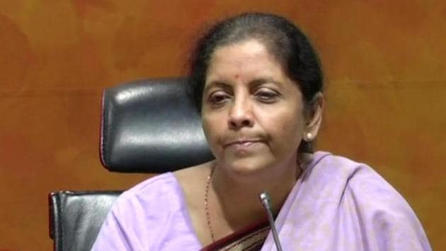 Defence minister Nirmala Sitharaman holds a press conference in New Delhi.(ANI Photo)