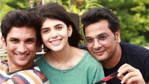 Kizie And Manny actors Sushant Singh Rajput and Sanjana Sanghi with director Mukesh Chhabra.