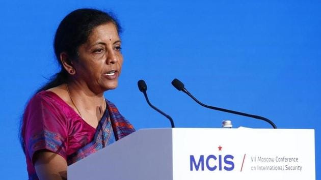 Defence Minister Nirmala Sitharaman delivers a speech during the annual Moscow Conference on International Security (MCIS) in Moscow, Russia.(Reuters File Photo)