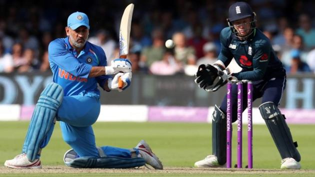 India's MS Dhoni in action against England in the second ODI in London.(Reuters)