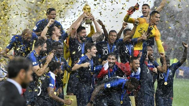France players celebrate after winning the FIFA World Cup final 4-2 against Croatia at the Luzhniki Stadium in Moscow on Sunday.(AP)