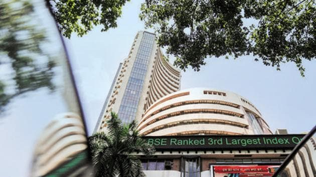 The Bombay Stock Exchange (BSE) building is pictured next to a police van in Mumbai.(REUTERS File Photo)