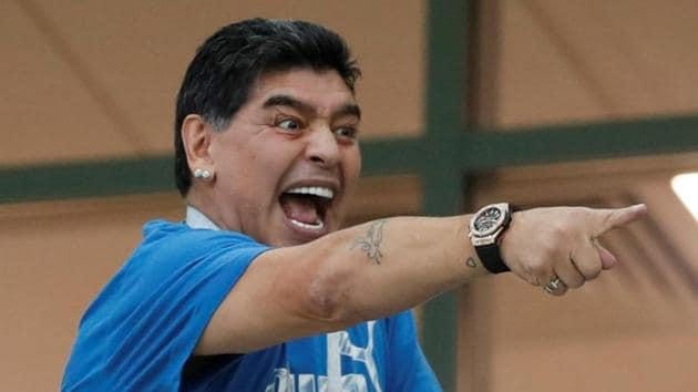 Diego Maradona's antics in the stands during Argentina's FIFA World Cup 2018 grabbed eyeballs.(Reuters)