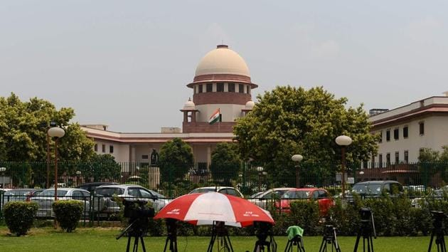 Camera tripods are set up on the premises of Supreme Court building in New Delhi.(AFP File Photo)