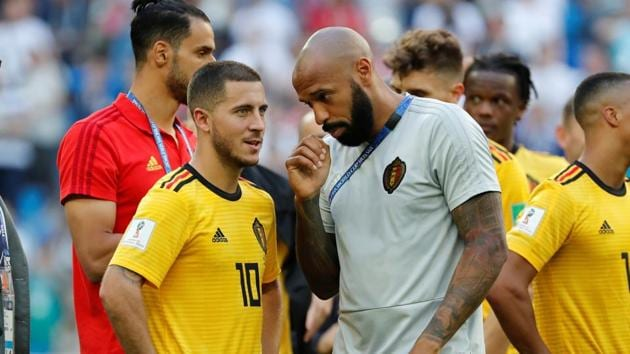 Belgium assistant coach Thierry Henry during a FIFA World Cup 2018 match.(REUTERS)