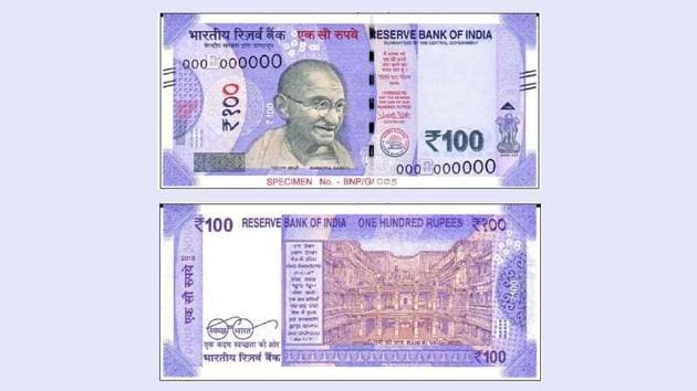 The new Rs 100 banknote in the new Mahatma Gandhi series.(RBI)