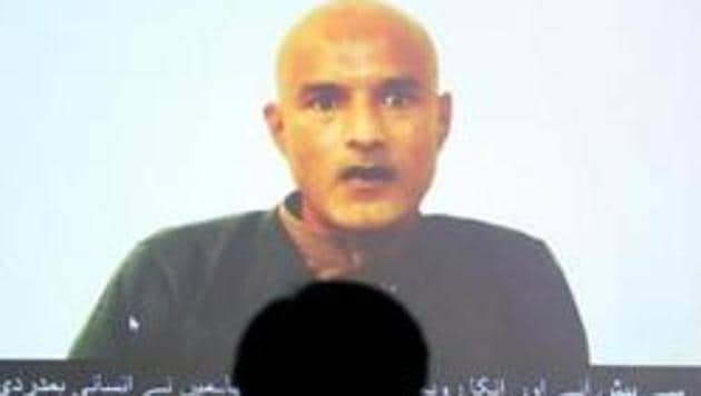 Former Indian Navy officer Kulbhushan Jadhav is seen on a screen during a news conference at the Ministry of Foreign Affairs in Islamabad, Pakistan.(Reuters File Photo)