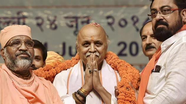 Former Vishwa Hindu Parishad leader Pravin Togadia being garlanded by the supporters at the launch of his new outfit International Hindu Council.(PTI File Photo)