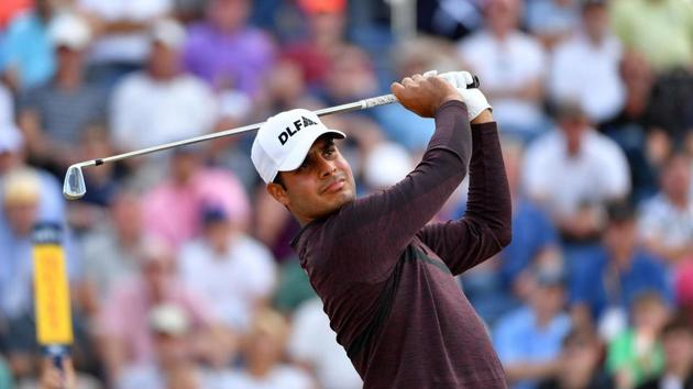 Shubhankar Sharma of India hits a shot during round one of the 147th Open golf Championship at Carnoustie.(AFP)