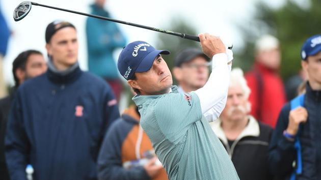 Kevin Kisner watches his shot from the 9th tee during his second round on Day 2 of British Open golf.(AFP)