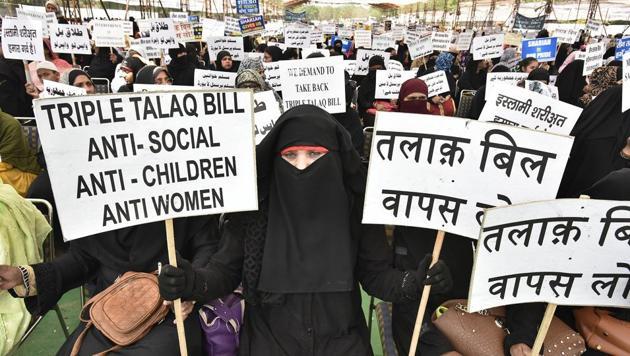 Muslim women protest against the Triple Talaq Bill in New Delhi.(Raj K Raj/HT File Photo)