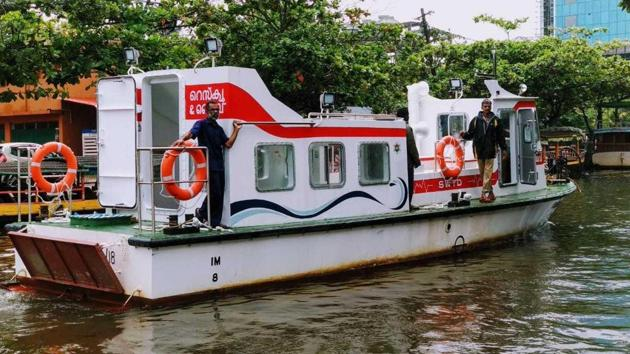 Water ambulances were pressed into service in flood-hit central districts in Kerala for the first time.(HT Photo)