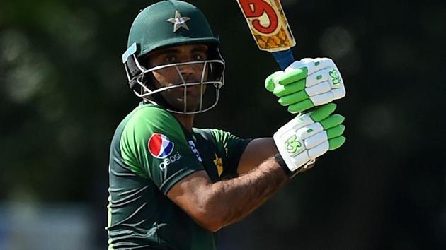 Pakistan's Fakhar Zaman plays a shot during the first Twenty20 International match against Scotland.(AFP)