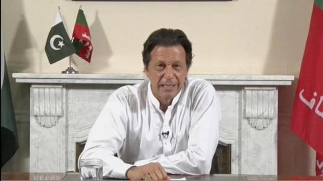 Cricket star-turned-politician Imran Khan, chairman of Pakistan Tehreek-e-Insaf (PTI), gives a speech as he declares victory in the general election in Islamabad, Pakistan.(PTI Photo)
