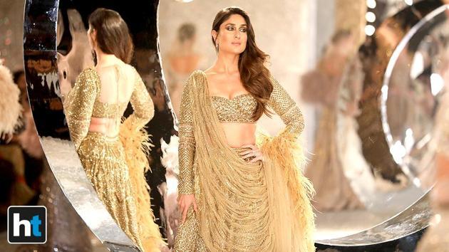 Kareena Kapoor Khan wore a glittery Falguni Shane Peacock lehenga at India Couture Week 2018.(Raajessh Kashyap/HT Photo)