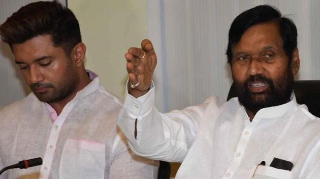 """Addressing a press conference, Lok Janshakti Party leader Ram Vilas Paswan and his son and party MP Chirag Paswan said people from SC and ST communities were feeling betrayed as the BJP-led NDA government had not issued an ordinance """"as yet"""" to overturn the Supreme Court's March 20 order that """"diluted"""" the original Act.(File photo)"""