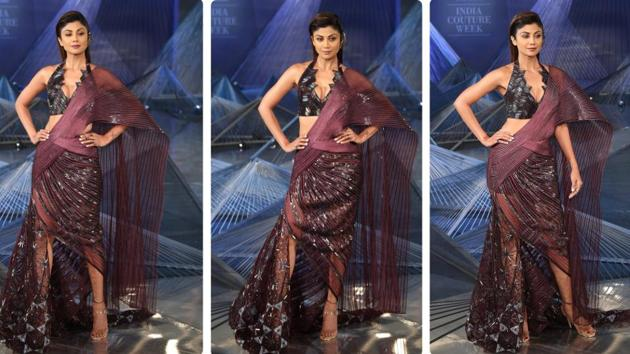 At India Couture Week 2018, designer Amit Aggarwal draped Shilpa Shetty Kundra in a quirky, edgy dress inspired by the traditional saree. (Amal KS/HT Photo)