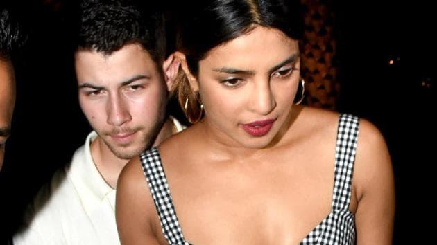 Priyanka Chopra and Nick Jonas spotted at Yauatcha restaurant in Mumbai.(PTI)