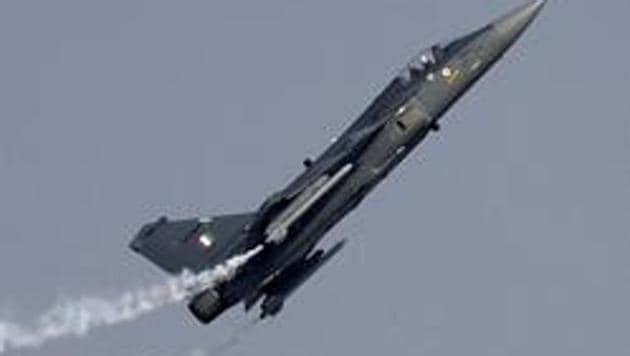 Indian Air Force (IAF) Tejas Fighter plane (Made in India ) performing first time a manoeuvre during the celebration 84th anniversary of Air Force Day parade at the Air Force Station Hindan in Ghaziabad.(HT File Photo)