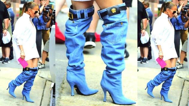 Jennifer Lopez wears Versace boots in New York. (Twitter)