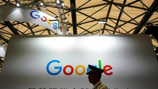 A Google sign is seen during the China Digital Entertainment Expo and Conference (ChinaJoy) in Shanghai.(REUTERS File Photo)