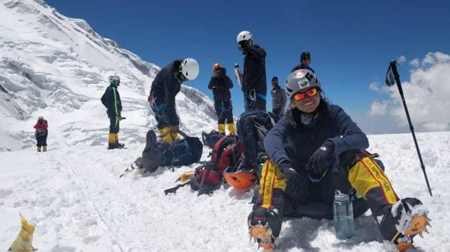 After first unsuccessful attempt on May 12, Sheetal Raj (looking into camera) scaled the 8,586-metre summit on May 21 at the age of 22.(HT Photo)