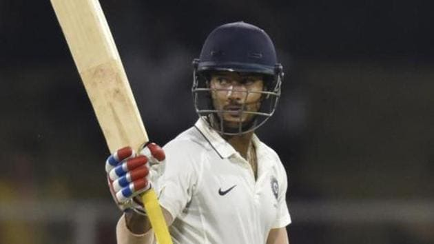 India A batsman Mayank Agarwal sent the South Africa A bowlers on a leather hunt with an unbeaten 220 off 250 balls.(HT PHOTO)
