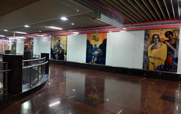 The Lajpat Nagar Metro Station on Delhi Metro's Pink Line. The Durgabai Deshmukh South Campus-Lajpat Nagar section will become operational from August 6, 2018.(Mohd Zakir/HT File Photo)