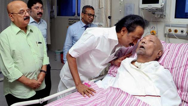 Ailing DMK president M Karunanidhi at the Kauvery Hospital in Chennai on July 31, 2018.(PTI File Photo)