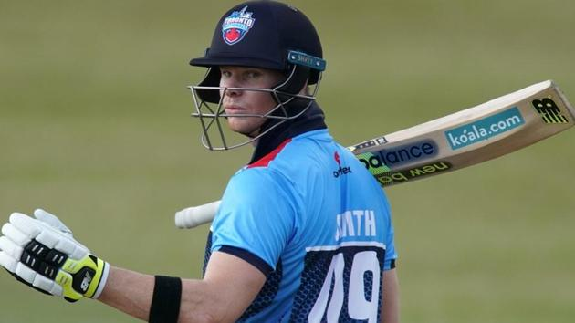 Steve Smith bats during his game at the GT20 Cricket Tournament in King City, Ontario.(REUTERS)