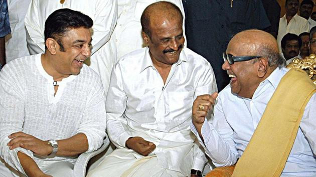 In this file picture DMK chief M Karunanidhi is seen with film stars Kamal Haasan and Rajinikanth.(PTI File Photo)