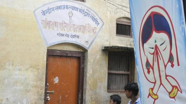 A view of the Maa Vindhyavasini Mahila and Balika Sanrakshan Griha shelter house after it was seized by police Monday night in Deoria.(Deepak Gupta/HT Photo)