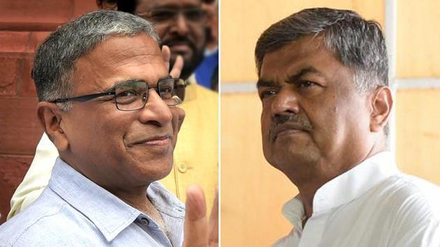 NDA nominee Harivansh (L) and opposition candidate BK Hariprasad.