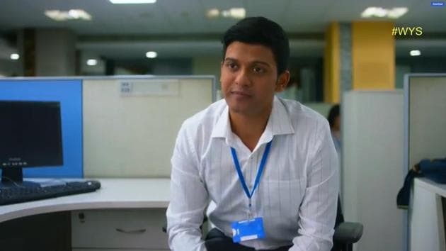 Naveen Polishetty plays disgruntled IT employee TJ in the web series, What's Your Status.(Cheers! / YouTube)