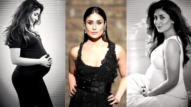 Kareena Kapoor Khan became the first Bollywood actor to pose when eight-months pregnant (on left and right) in an exclusive HT Brunch photoshoot in November 2016. In February 2018, Kareena closed the summer/resort 2018 edition of Lakme Fashion Week as a showstopper for designer Anamika Khanna.(Rohan Shrestha and IANS File Photo)