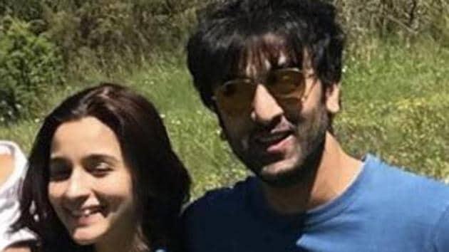 Alia Bhatt and Ranbir Kapoor on the Brahmastra sets.