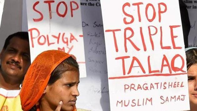 Activists of Joint Movement Committee protest on the issue of Triple Talaq at Jantar Mantar in New Delhi.(PTI File Photo)