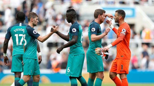 Tottenham players celebrate after the match against Newcastle United.(Action Images via Reuters)
