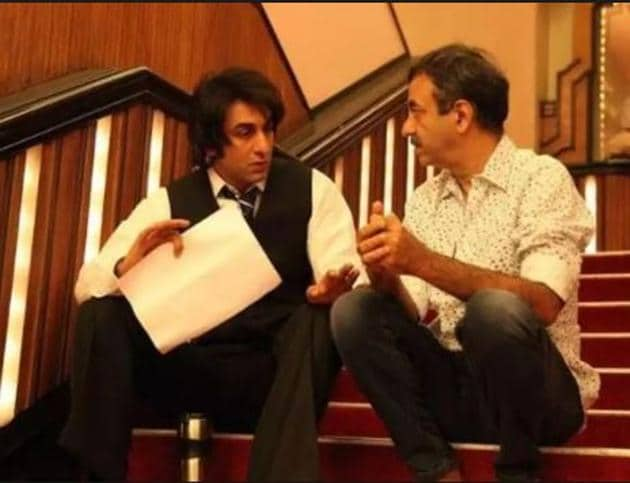 Rajkumar Hirani with Ranbir Kapoor on Sanju sets.