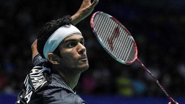 Ajay Jayaram in action during the Vietnam Open badminton tournament on Sunday.(AFP)