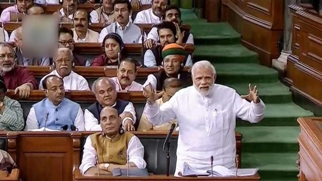 Prime Minister Narendra Modi speaks in the Lok Sabha on no-confidence motion during the Monsoon Session of Parliament.(PTI File Photo)
