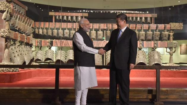 Prime Minister Narendra Modi and Chinese president Xi Jinping visit an exhibition at theHubei Provincial Museum, in Wuhan, China on April 27, 2018 ahead of their informal summit.(Agency file photo)