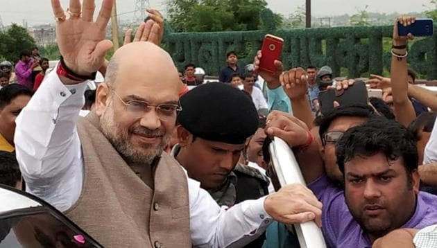 "BJP president Amit Shah said various political parties, depending on the likely date of elections, decide on ""short-sighted"" and ""populist"" policies which affects governance, while the imposition of the model code of conduct before every election leads to a stop on policy decisions and development activities.(PTI)"