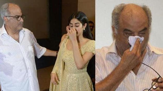 Janhvi Kapoor and Boney Kapoor at an event to mark Sridevi's 55th birth anniversary.