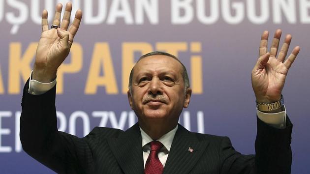 Turkey's President Recep Tayyip Erdogan gestures prior to delivering a speech in Ankara, Turkey(AP Photo)