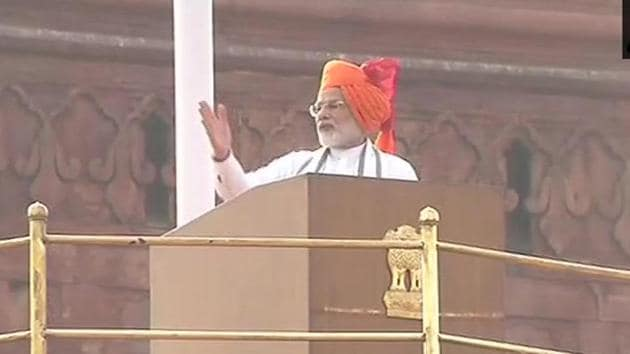 Prime Minister Narendra Modi delivering his Independence Day speech on Wednesday.(ANI Photo.Twitter)