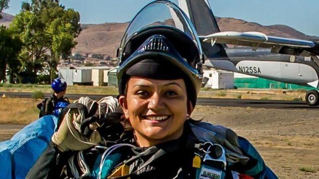 Shital Rane-Mahajan (pictured) hit the headlines in February when she skydived from 13,000 feet over Pattaya, Thailand, sporting a colourful 'Nav-wari Sari' (traditional Maharashtrian nine-yard sari).(HT File Photo)