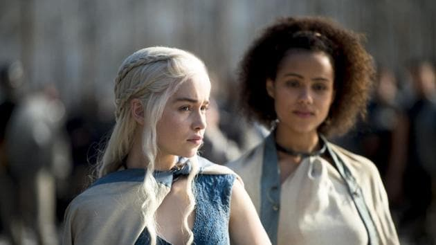Nathalie Emmanuel and Emilia Clarke in a still from Game of Thrones.
