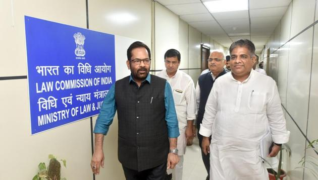 Senior BJP leader Mukhtar Abbas Naqvi and others come out after a meeting with chairman of Law Commission on simultaneous polls, at Law Commission of India, Lok Nayak Bhawan in New Delhi on August 13, 2018.(Sushil Kumar/HT PHOTO)