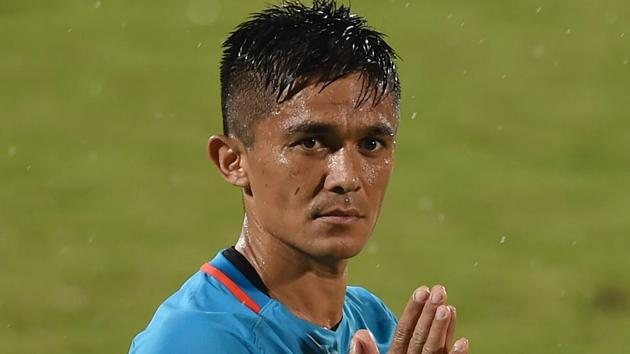 Sunil Chhetri greets his team's supporters.(AFP)